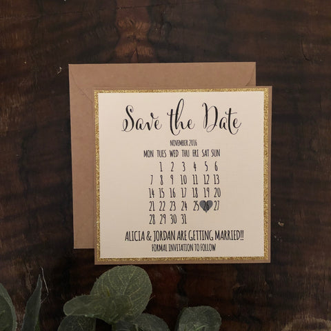 gold glitter calendar save the date card