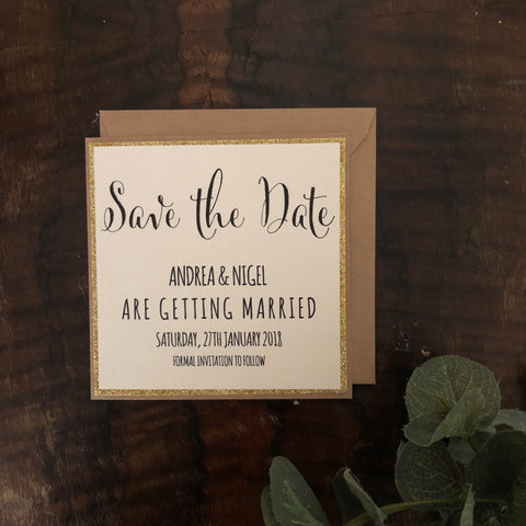 gold glitter save the date card