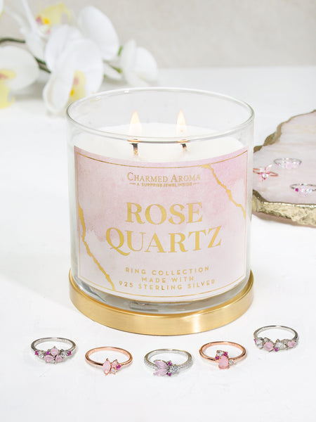 Rose Quartz Candle - Rose Quartz Ring Collection
