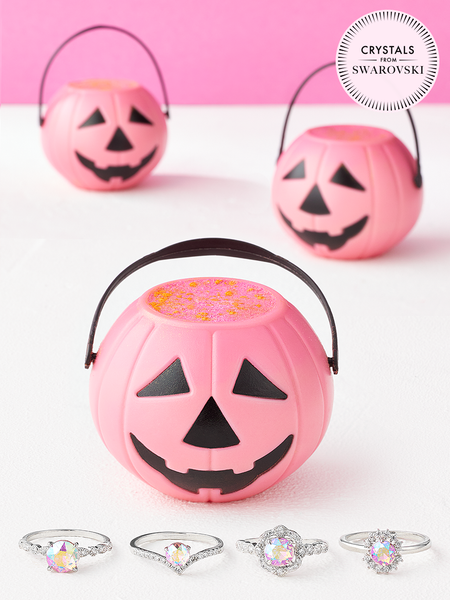Pink Pumpkin Bath Bomb - Pink Aurora Ring Collection Made with Crystals from Swarovski®