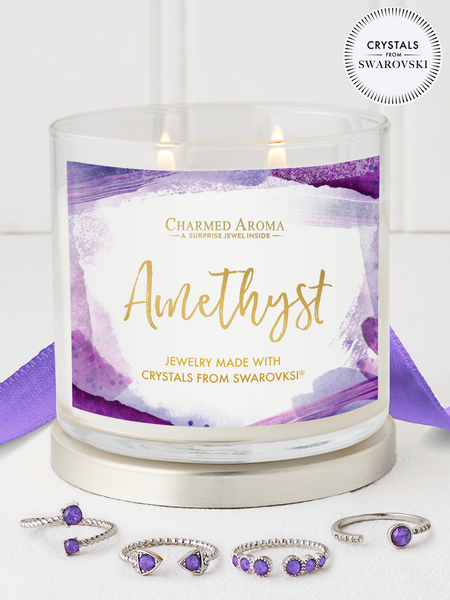 Amethyst Birthstone Candle - Adjustable Ring Collection Made With Crystals From Swarovski®