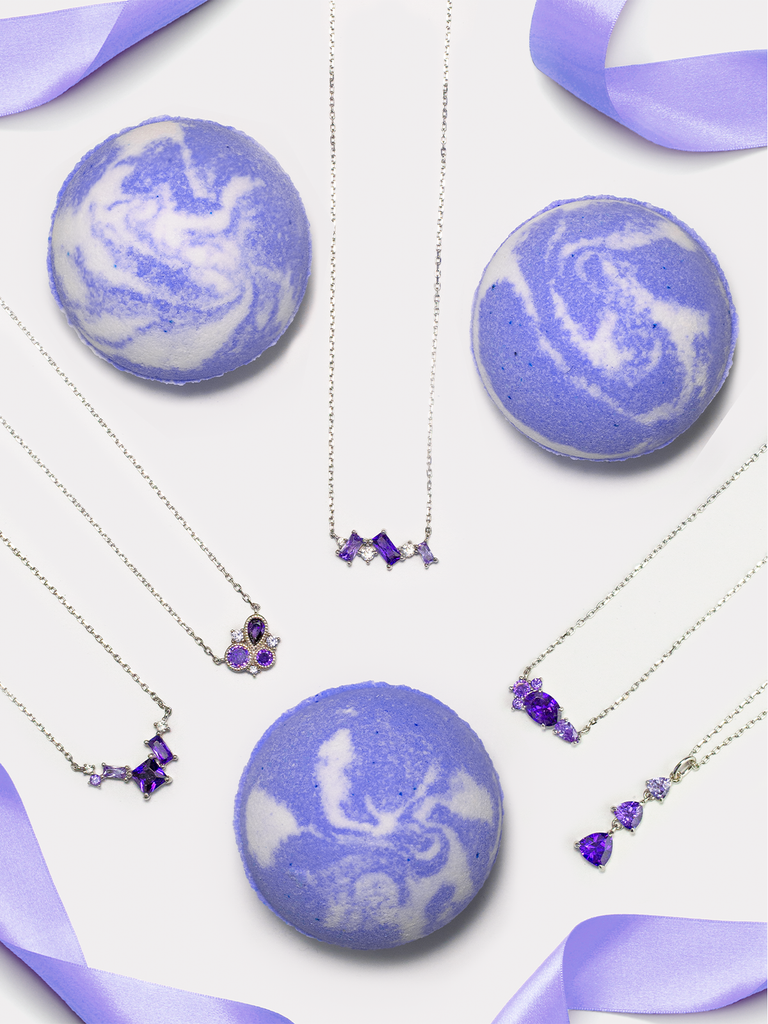 Amethyst Birthstone Bath Bomb - Amethyst Necklace Collection
