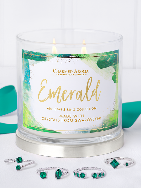 Emerald Birthstone Candle - Ring Collection Made With Crystals From Swarovski®