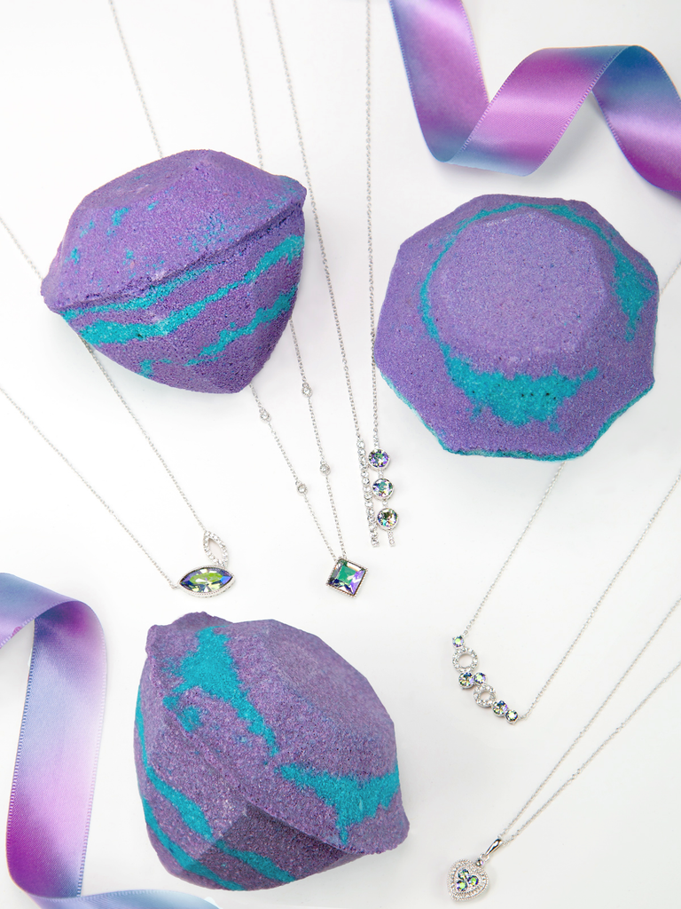 Alexandrite Birthstone Bath Bomb - Necklace Collection Made With Crystals From Swarovski