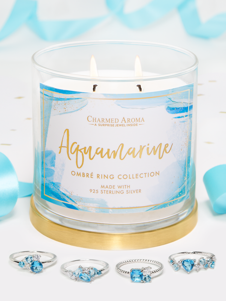 Aquamarine Birthstone Candle - Aquamarine Ring Collection