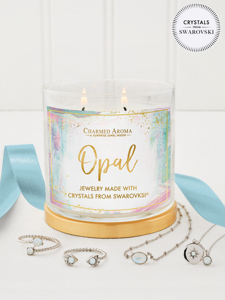 Opal Birthstone Candle - Jewelry Collection Made With Crystals From Swarovski®