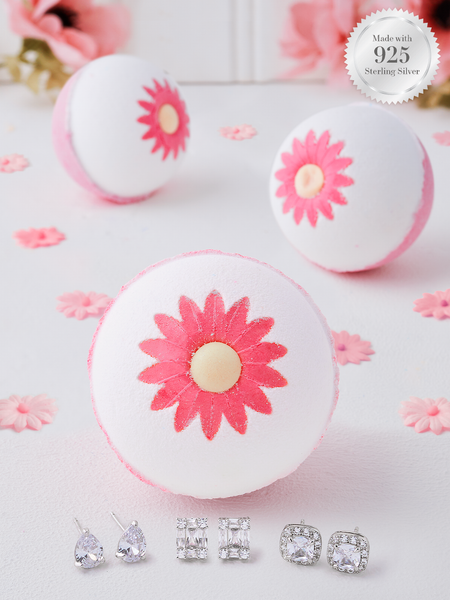 Dancing Daisy Bath Bomb - 925 Sterling Silver Earring Collection