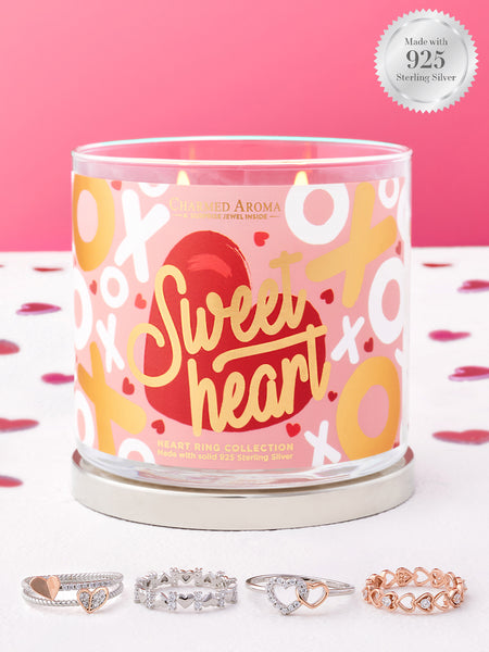 Sweetheart Candle - 925 Sterling Silver Heart Ring Collection
