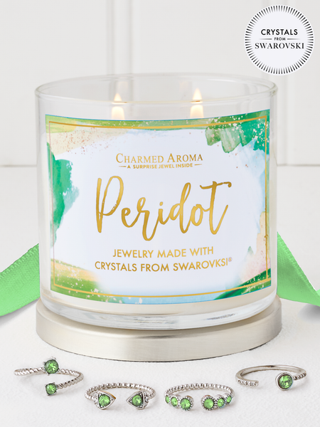 Peridot Birthstone Candle - Jewelry Collection Made With Crystals From Swarovski®