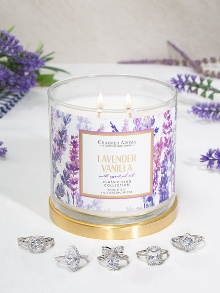 Lavender Vanilla Candle - Classic Ring Collection (With Essential Oils)