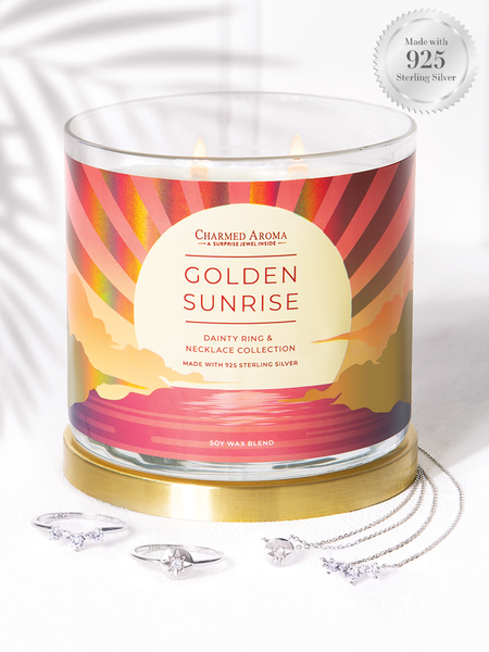 Golden Sunrise Candle - 925 Sterling Silver Dainty Ring & Necklace Collection