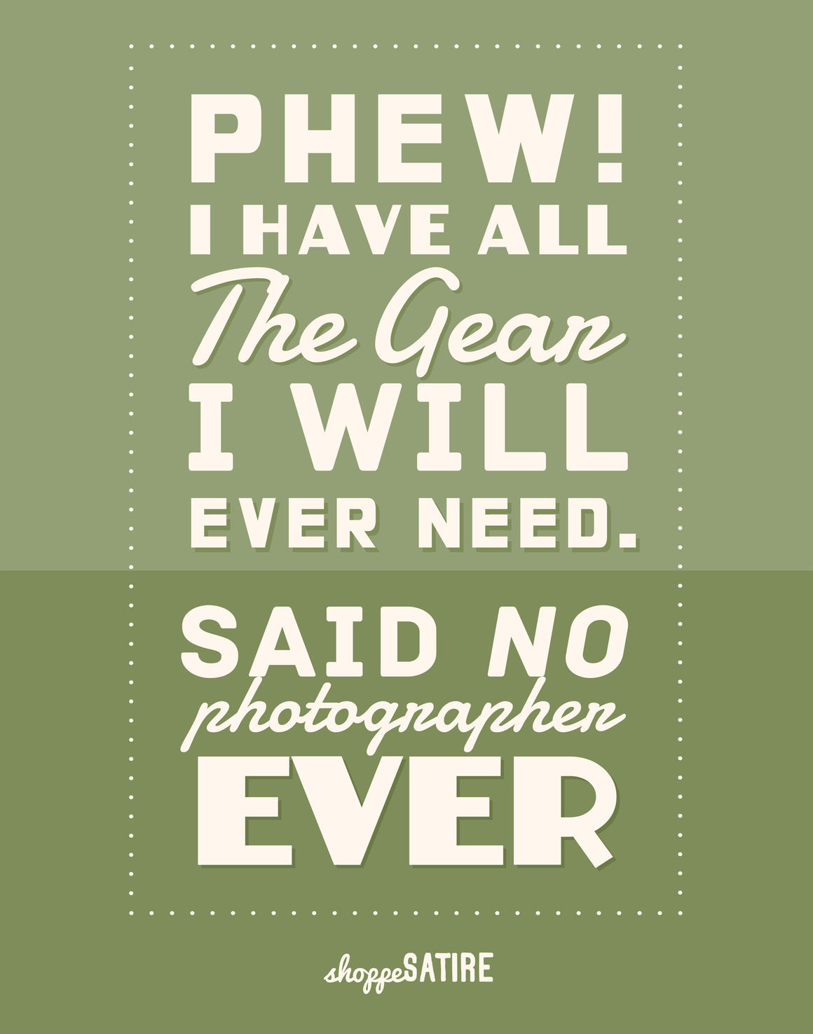 Shoppe Satire Printable ~ Enough Gear