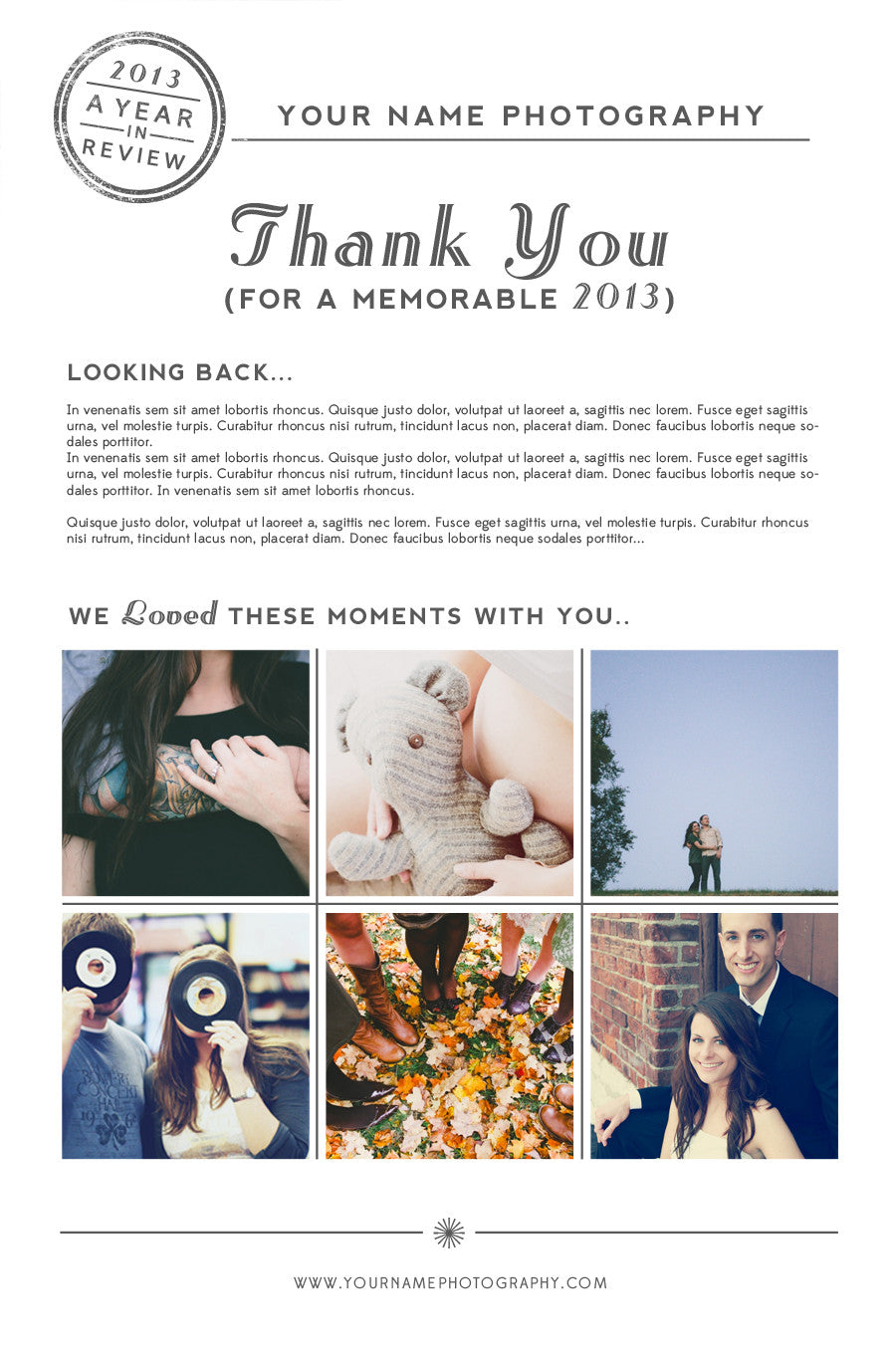 a year in review newsletter photoshop template the shoppe designs