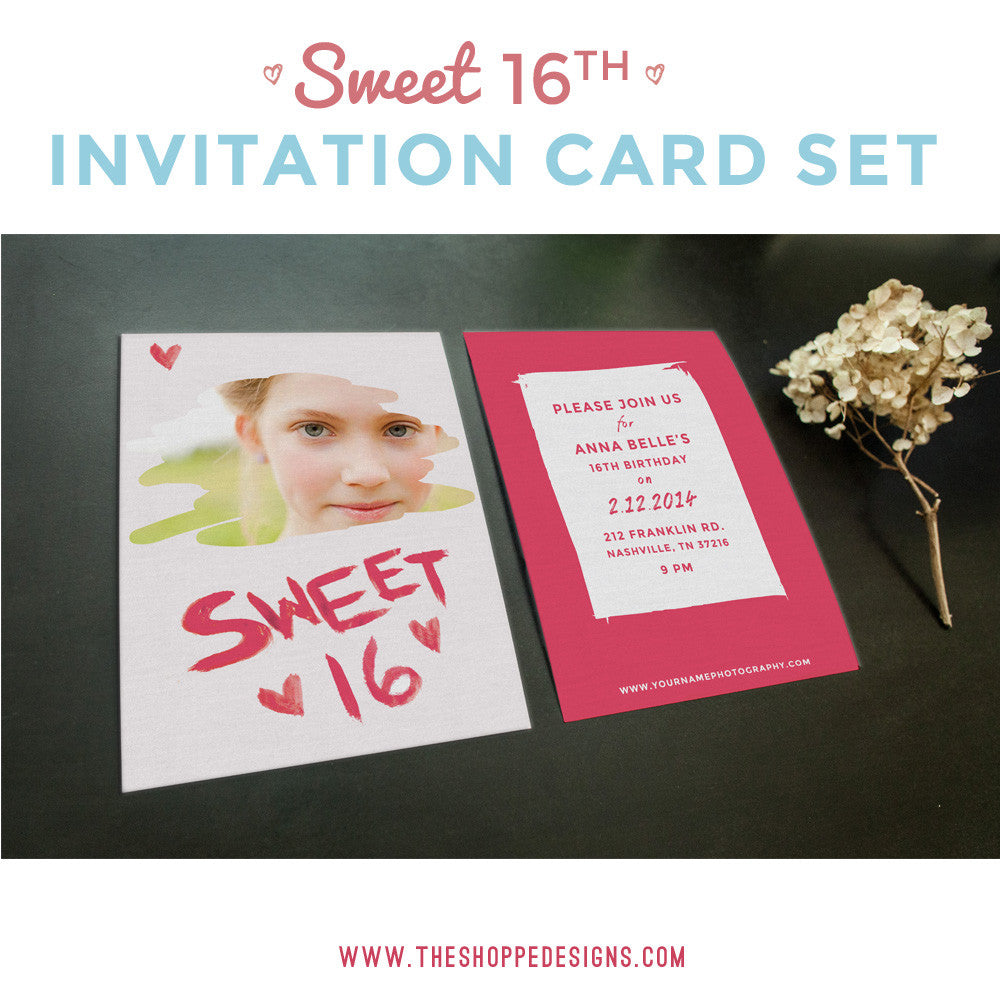 SWEET TH BIRTHDAY INVITATION PHOTOSHOP TEMPLATES The Shoppe - Birthday invitation photoshop template