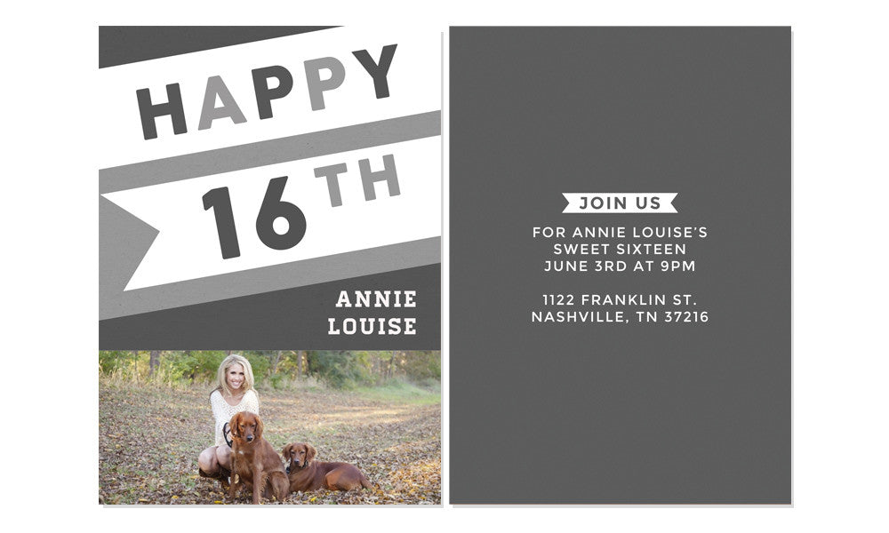 sweet 16th birthday invitation photoshop templates the shoppe designs