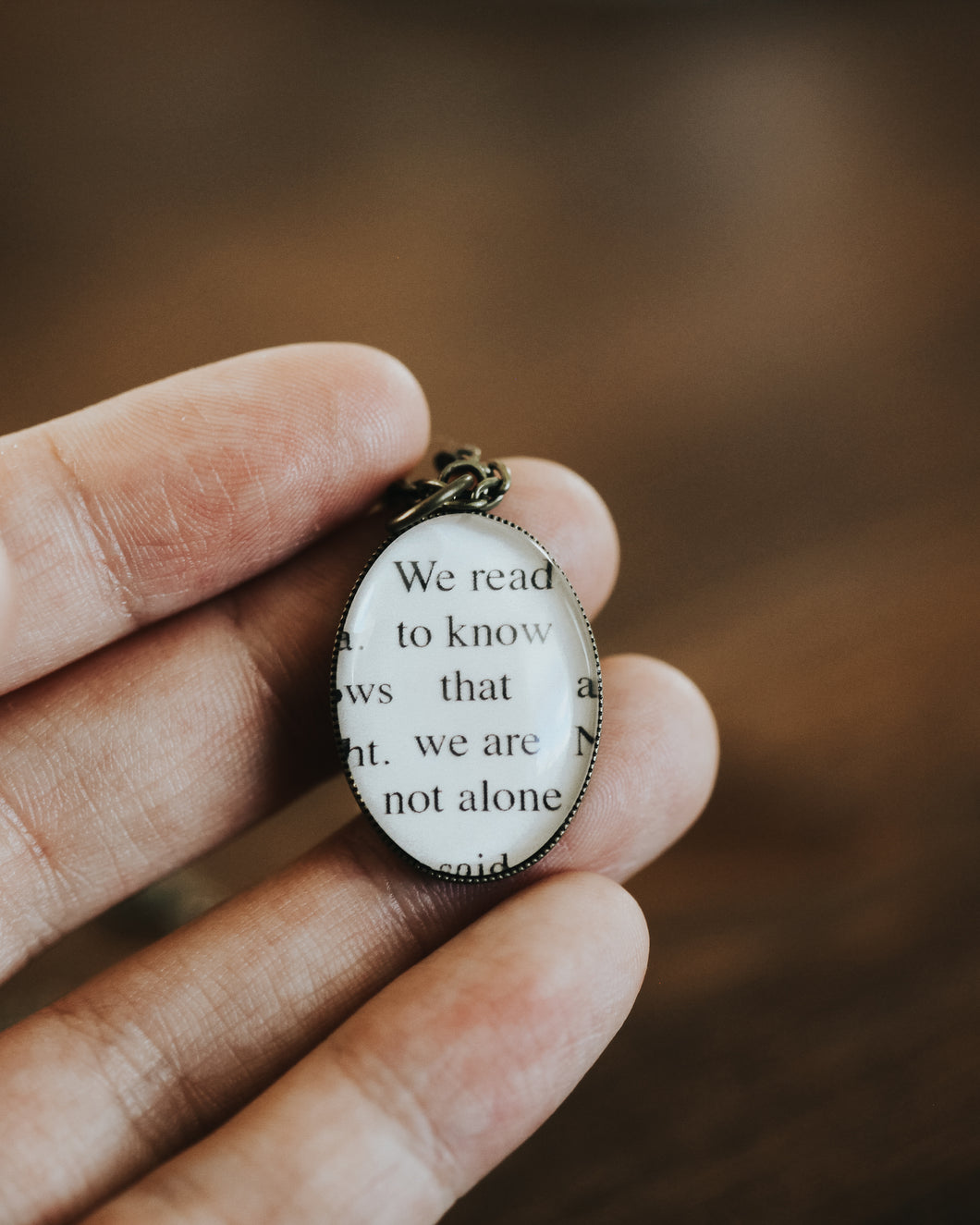 Book Page Necklace - We read to know that we are not alone
