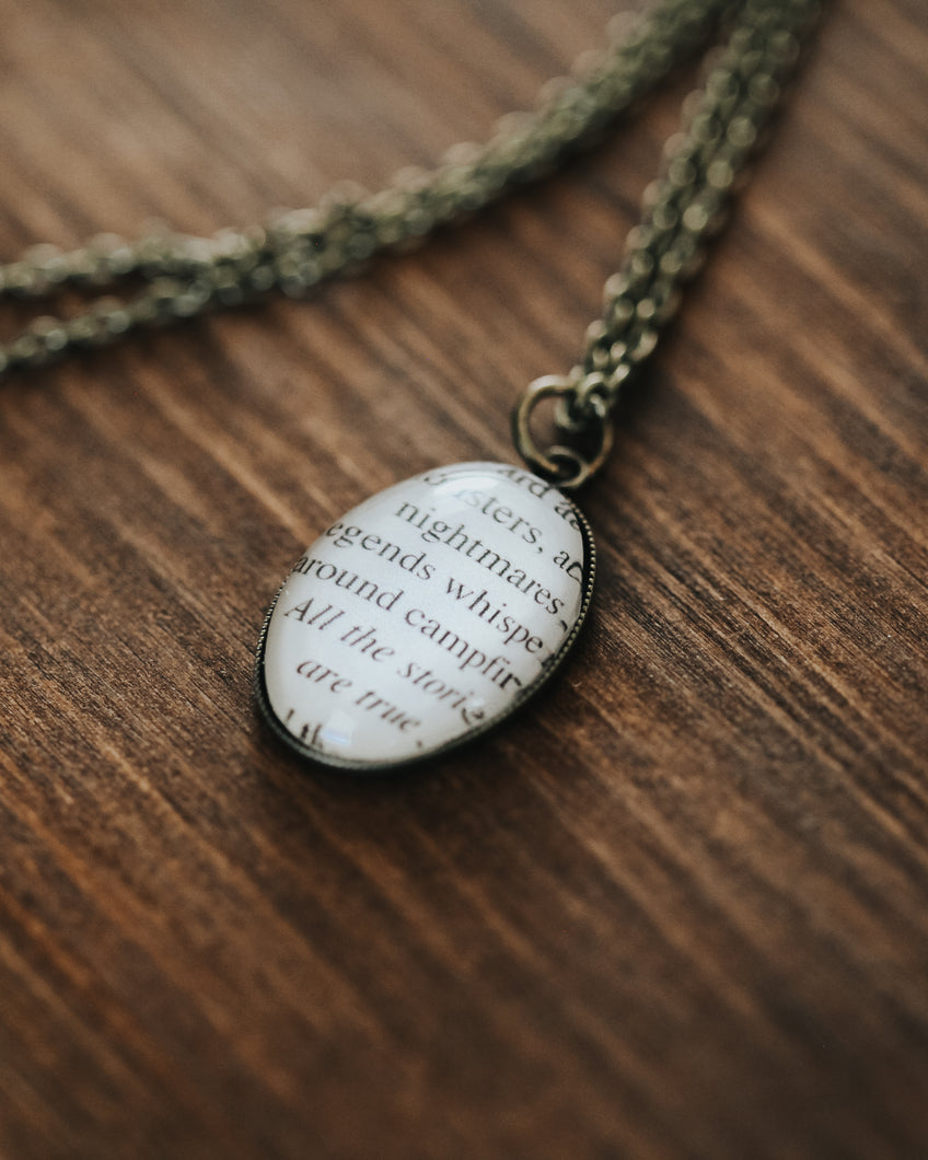 Book Page Necklace - All the stories are true