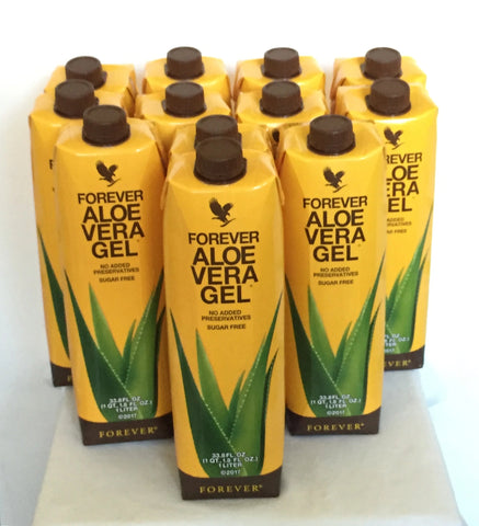 12 tetra packs of Forever Aloe Vera Gel (1 L)