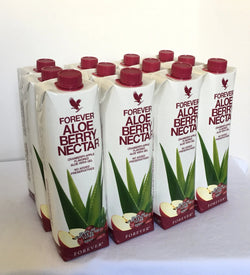 12 tetra packs of Forever Aloe Berry Nectar (1 L)
