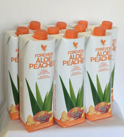 12 bottles of Forever Aloe Vera Bits n' Peaches (1 L)