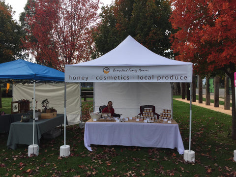 Bumpstead Family Apiaries stall at a recent Farmers Market