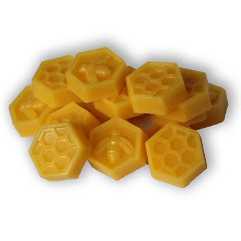 Small 14g beeswax blocks in bee and honeycomb shapes