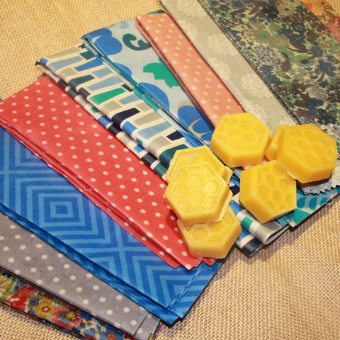 All natural and reusable beeswax food wraps available for sale in a variety of colours and sizes
