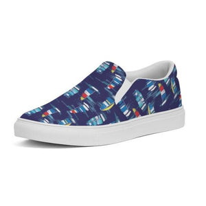 Slip-On Canvas Shoe- Navy Sailboats - Just Madras