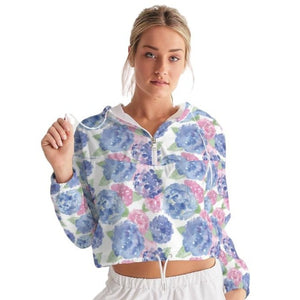Women's Cropped Windbreaker- Hydrangea - Just Madras