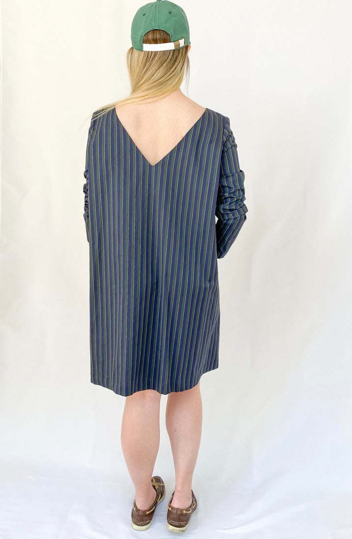 Kathryn Dress- Navy/Green Regimental Stripe - Just Madras