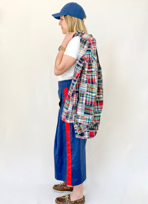The Tuxedo Cropped Trouser- Navy w/ Red - Just Madras