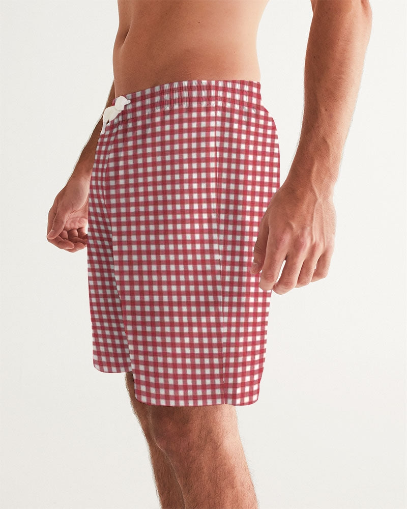 Men's Swim Trunk- Red Gingham - Just Madras
