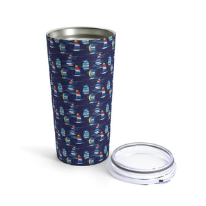 Open image in slideshow, Tumbler 20oz- Navy Sailboats - Just Madras