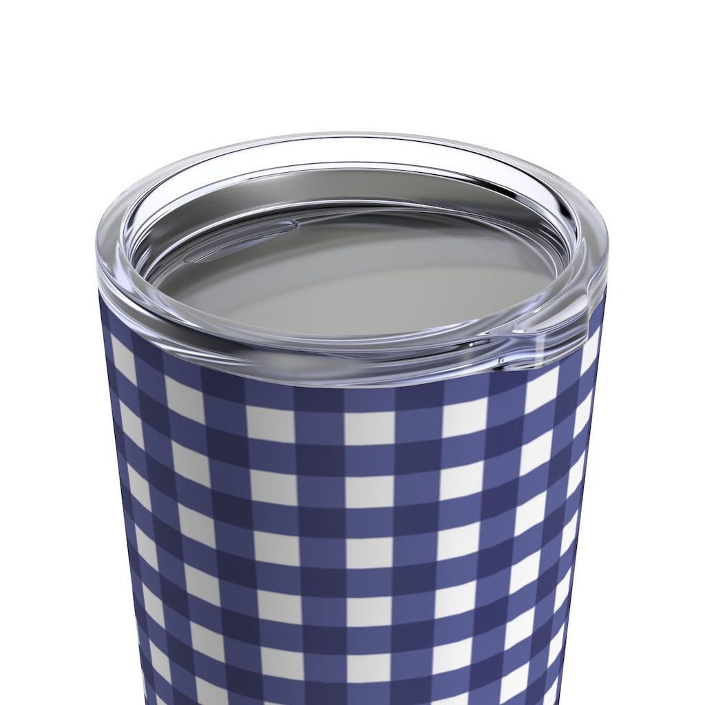 Tumbler 20oz- Navy Gingham - Just Madras