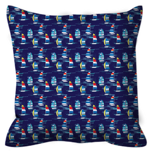 Open image in slideshow, Outdoor Pillows- Navy Sailboats - Just Madras