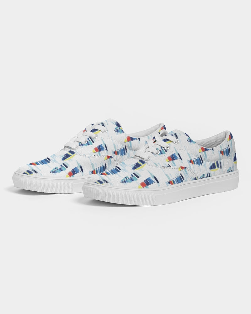 Lace Up Canvas Shoe- Sailboat - Just Madras