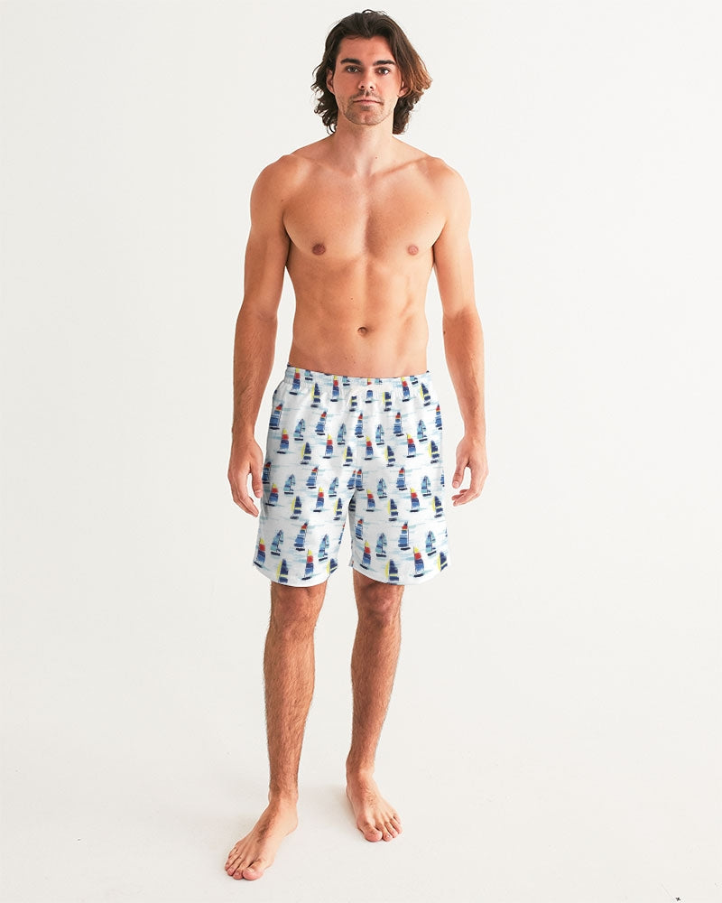Men's Swim Trunk- Sailboat - Just Madras