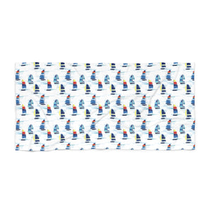 Open image in slideshow, Beach Towel- Sailboat Print - Just Madras