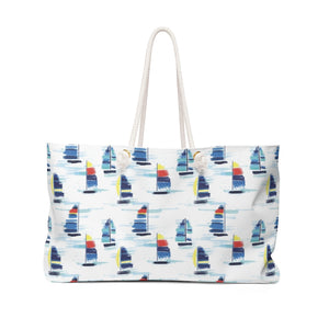 Open image in slideshow, Weekender Bag- Sailboat Print - Just Madras
