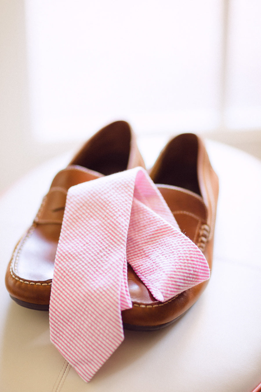 Seersucker Tie- Pink - Just Madras