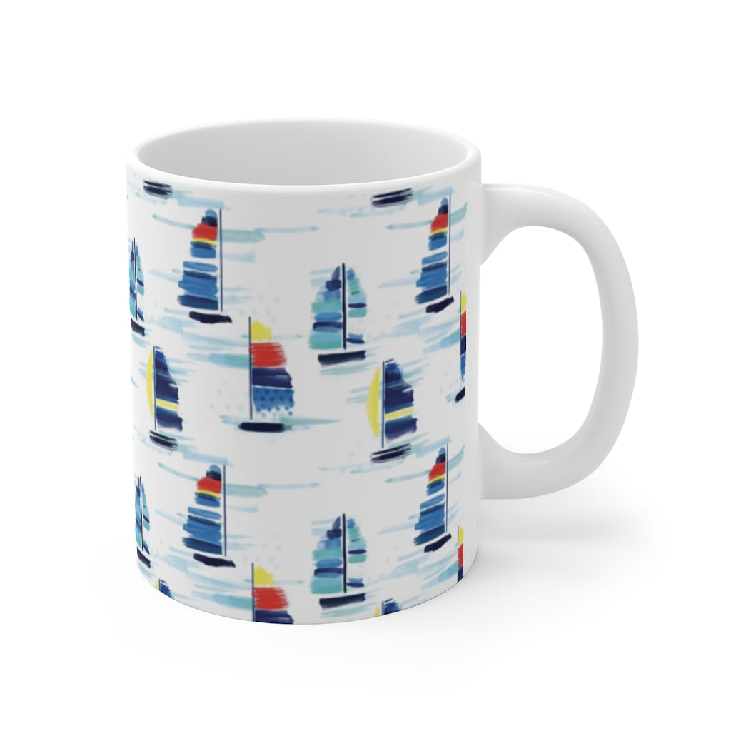 Mug 11oz- Sailboat Print - Just Madras