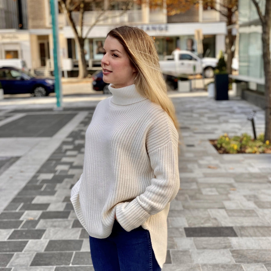 Your Favorite Cashmere Turtleneck- Cream - Just Madras