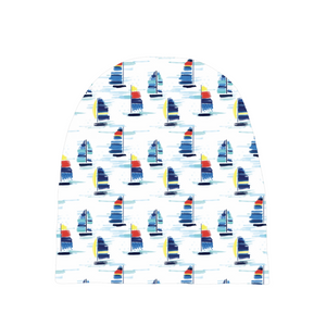 Open image in slideshow, Baby Beanies- Sailboat print - Just Madras