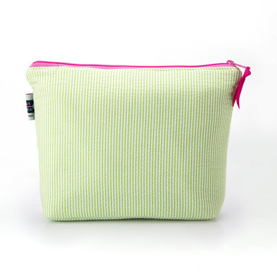 Seersucker Cosmetic Bag- Lime Green - Just Madras