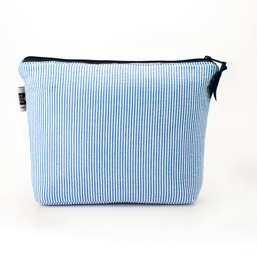 Seersucker Cosmetic Bag- Blue - Just Madras