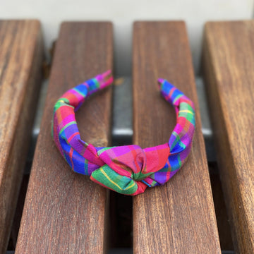Knot Headband (Silk)- Confetti Plaid - Just Madras