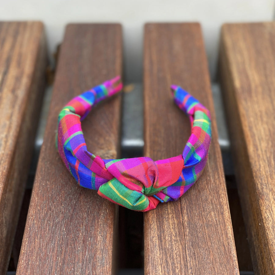 Knot Headband (Silk)- Confetti Plaid