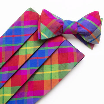 Silk Cummerbund Set- Confetti Plaid - Just Madras