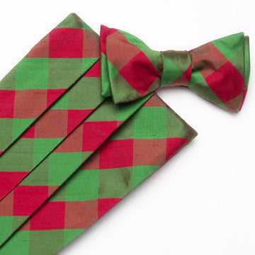 Holiday Silk Cummerbund Set- Green/Red Check - Just Madras