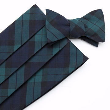 Typewriter Cloth Cummerbund Set- Black Watch Tartan